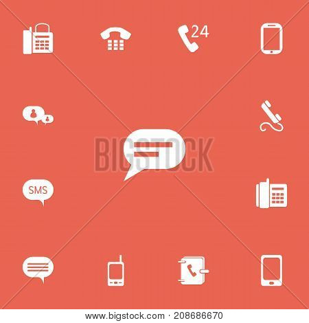 Set Of 13 Editable Device Icons. Includes Symbols Such As Comment, 24 Hour Servicing, Radio Talkie And More