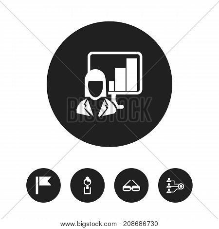 Set Of 5 Editable Bureau Icons. Includes Symbols Such As Presentation, Pennant, Businesswoman And More