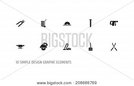 Set Of 10 Editable Instrument Icons. Includes Symbols Such As Digging, Sweeper, Shipment And More