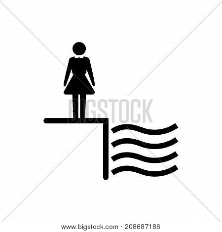 Icon of deep water. Woman, edge, swimming pool. Safety signs concept. Can be used for topics like danger, caution, warning sign