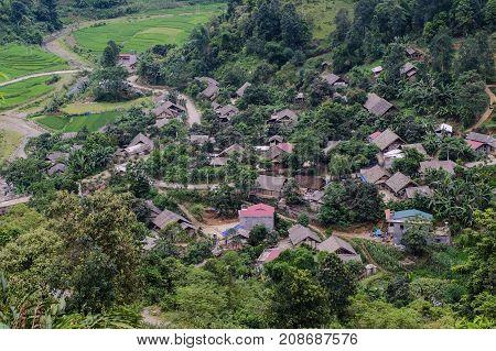 Mountain township in Sapa, Lao Cai, Northern Vietnam.