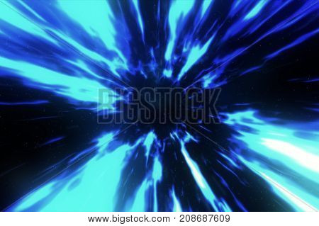 3D Illustration With Wormhole Interstellar Travel Through A Blue Force Field With Galaxies And Stars