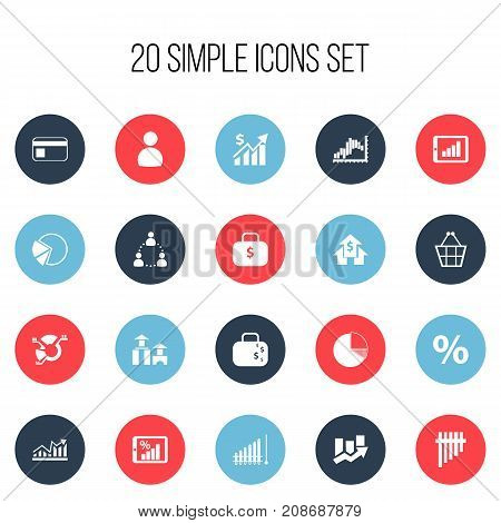 Set Of 20 Editable Statistic Icons. Includes Symbols Such As Banking House, Architecture, Bar Chart And More