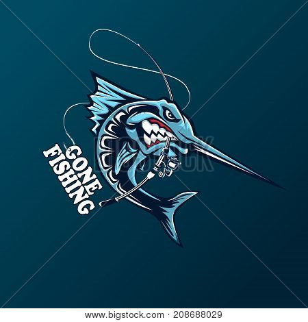 Angry marlin fish logo. Marlin fishing emblem for sport club. Angry fish background theme vector illustration.