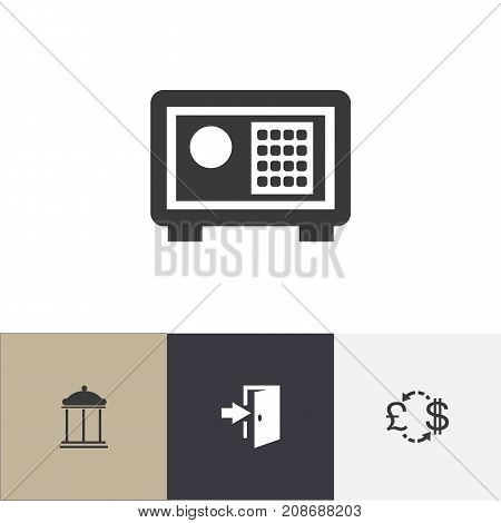 Set Of 4 Editable Motel Icons. Includes Symbols Such As Strongbox, Entrance, Currency And More
