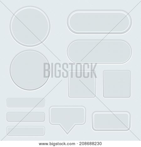 Gray buttons on striped background. Vector 3d illustration