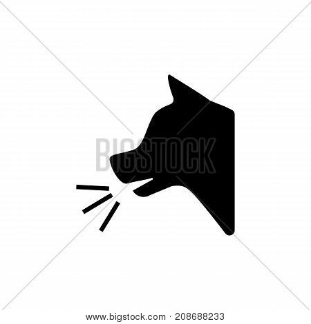 Icon of guard dog inside. Angry, barking, sound. Safety signs concept. Can be used for topics like aggression, house protection, home guardian