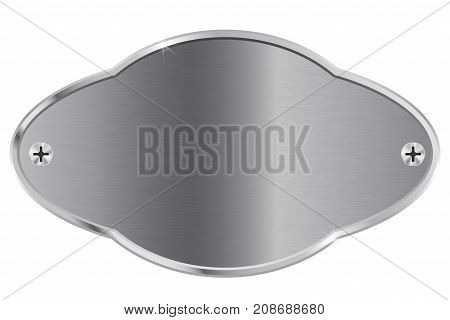 Metal plate. Decorative shape nameplate. Vector illustration isolated on white background