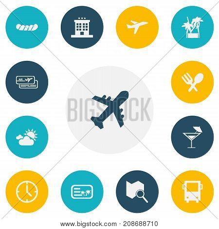 Set Of 13 Editable Trip Icons. Includes Symbols Such As Watch, Bratwurst, Luxury Inn And More