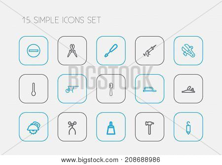 Set Of 15 Editable Equipment Outline Icons. Includes Symbols Such As Honey dripper, Vice, Plane And More