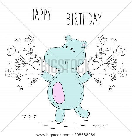 happy birthday card with funny hippo. Printable template.