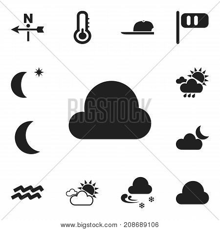 Set Of 12 Editable Air Icons. Includes Symbols Such As Overcast Weather, Summer Rain, Hat And More
