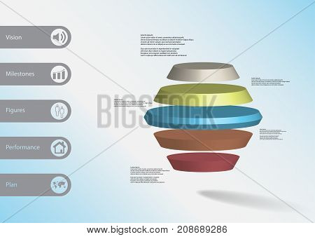 3D Illustration Infographic Template With Round Hexagon Horizontally Divided To Five Color Slices