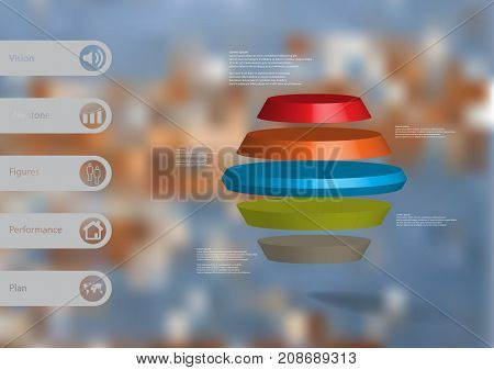 3D illustration infographic template with motif of round hexagon horizontally divided to five color slices with simple sign and text on side in bars. Blurred photo used as background.