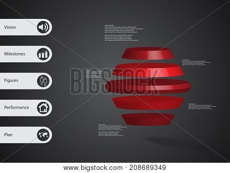 3D Illustration Infographic Template With Round Hexagon Horizontally Divided To Five Red Slices