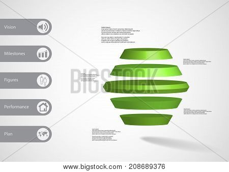 3D Illustration Infographic Template With Round Hexagon Horizontally Divided To Five Green Slices