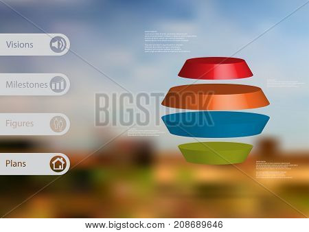 3D illustration infographic template with motif of round hexagon horizontally divided to four color slices with simple sign and text on side in bars. Blurred photo used as background.