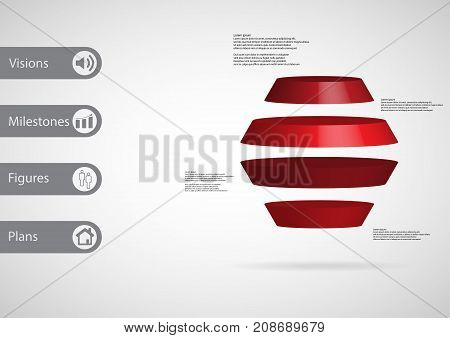3D Illustration Infographic Template With Round Hexagon Horizontally Divided To Four Red Slices