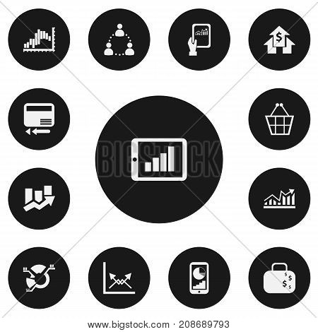 Set Of 13 Editable Analytics Icons. Includes Symbols Such As Tablet Analysis, Banking House, Cash Briefcase And More