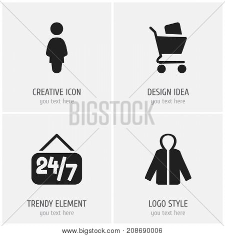 Set Of 4 Editable Business Icons. Includes Symbols Such As Wheelbarrow, Open Everyday, Sheath And More