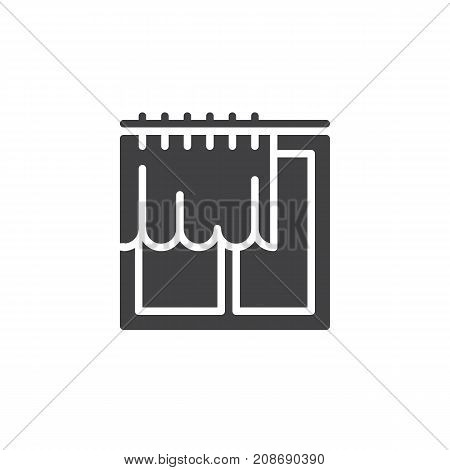Window and curtain icon vector, filled flat sign, solid pictogram isolated on white. Symbol, logo illustration.