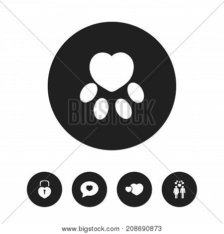 Set Of 5 Editable Amour Icons. Includes Symbols Such As Locked Heart, Darling, Proclamation And More