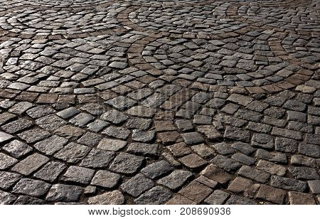 Ancient street of cobblestones of Yerevan, Armenia.
