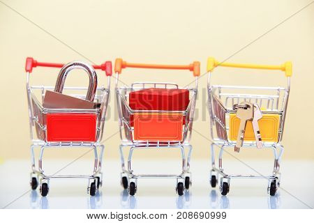 Selling background. Purchases in shopping carts. Theme for christmas sale.