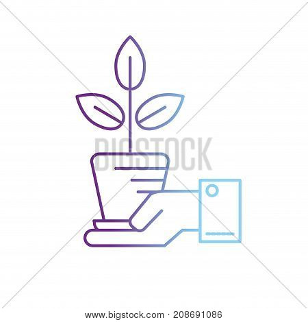 line ecology plant with flowerpot and leaves in the hand vector illustration