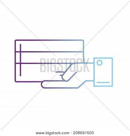 line businessman with electronic credit card in the palm hand vector illustration