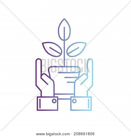 line ecology plant with flowerpot and leaves with hands vector illustration