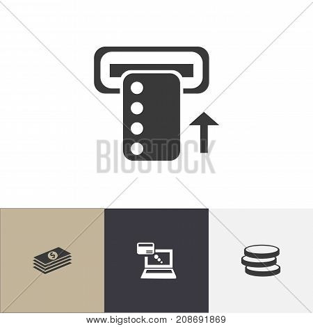 Set Of 4 Editable Banking Icons. Includes Symbols Such As Introduce, Market, Salary And More