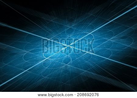 Blue glowing blockchain stream intersection on grid computer generated abstract background 3D rendering