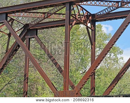 This is an architectural abstract of a historic trestle railroad bridge built in 1916 to cross the Maumee River from Grand Rapids Ohio. It is is longer open to rail traffic..