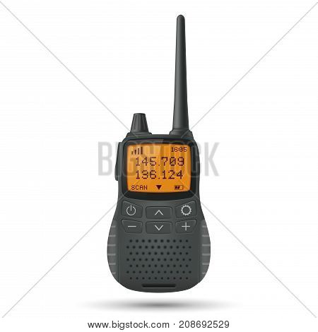 Radio transceiver. Black portable device with yellow screen and antenna. Vector 3d illustration isolated on white background