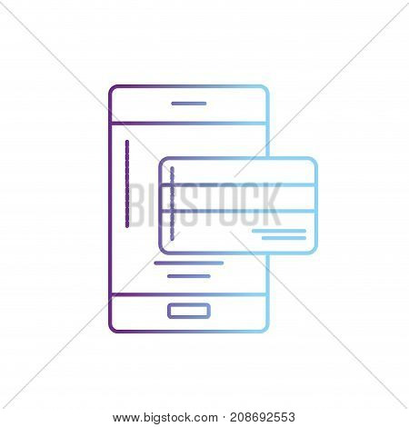line smartphone technology with electronic credit card vector illustration