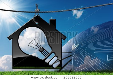3D illustration of a model house with a light bulb on a blue sky with clouds sun rays and a solar panel (photo) - Renewable energies concept