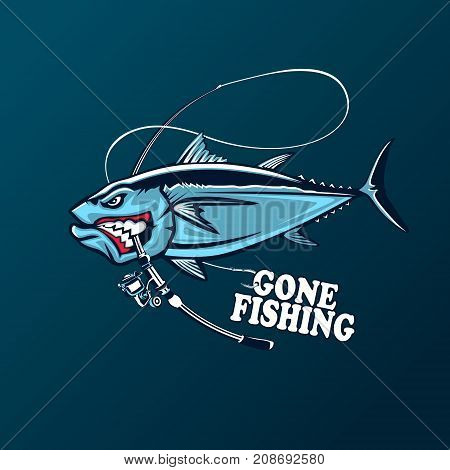 Angry tuna fish logo. Tuna fishing emblem. Big eye tuna. Angry fishing club logotype.