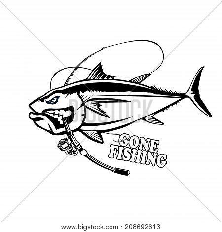 Angry tuna fish logo. Tuna fishing emblem. Big eye tuna. Angry fishing club logotype.