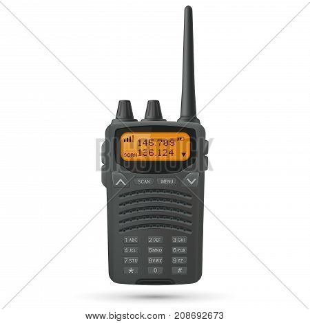 Radio transceiver. Black rectangle portable device with yellow screen and antenna. Vector 3d illustration isolated on white background