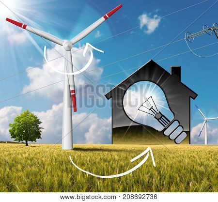 3D illustration of a model house with a light bulb wind turbines and a power line on a blue sky with clouds sun rays. In countryside with a tree - Renewable energies concept