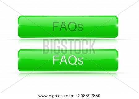 FAQs buttons set. Green rectangle web icons. Vector 3d illustration isolated on white background