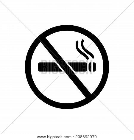 Icon of no smoking. Cigarette, warning, rule. Safety signs concept. Can be used for topics like public place, prohibition, bad habit