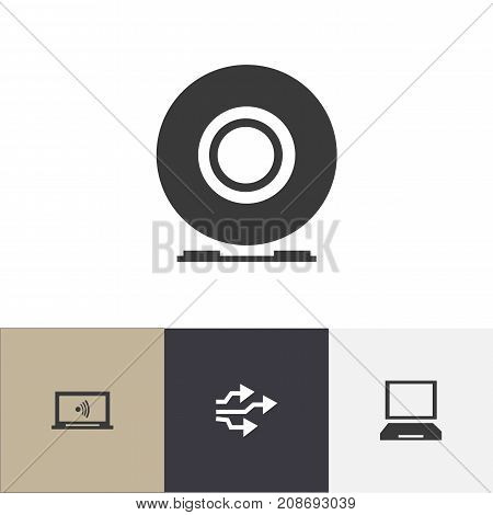 Set Of 4 Editable Computer Icons. Includes Symbols Such As Universal Serial Bus, Laptop, Compact Disk And More