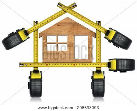 Tape measures in the shape of house with wooden model house isolated on white background. Design house concept