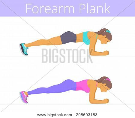 Beautiful white young women are doing the forearm plank exercise. Flat illustration of caucasian sporty girls are training in the plank position. Vector active people set isolated on white background.