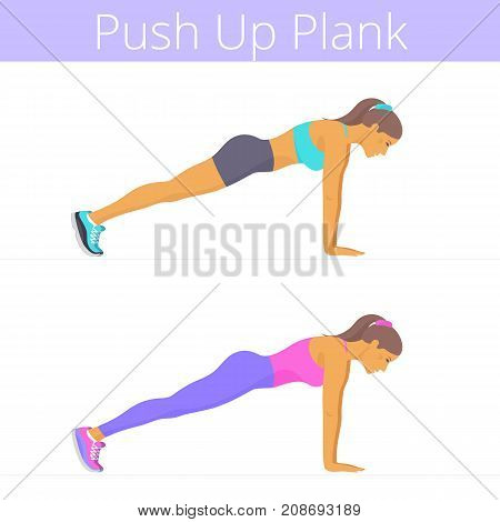 Beautiful young women are doing the push up plank exercise. Flat illustration of caucasian sporty girls are training in the push-up plank position. Vector active people set isolated on white.