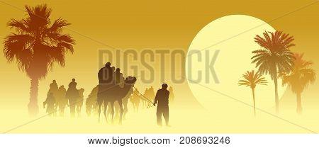 Camel caravan going through the sandstorm in the Sahara Desert