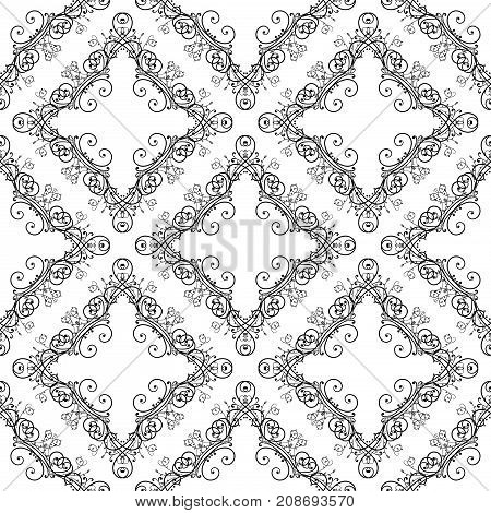 Decorative ornaments. Renaissance retro styled black design. Seamless pattern. Vector illustration