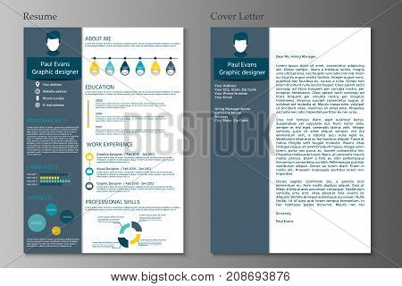 Resume And Cover Letter Collection.  Modern Cv Set With Infograp